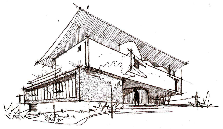 手绘房子图片铅笔画