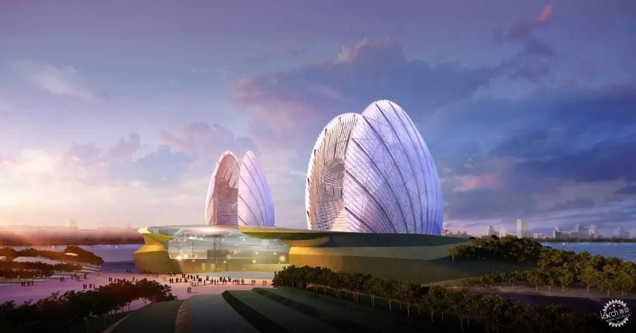 珠海歌剧院建筑方案的创作构思源于大海,用地的总体布局形似从海中