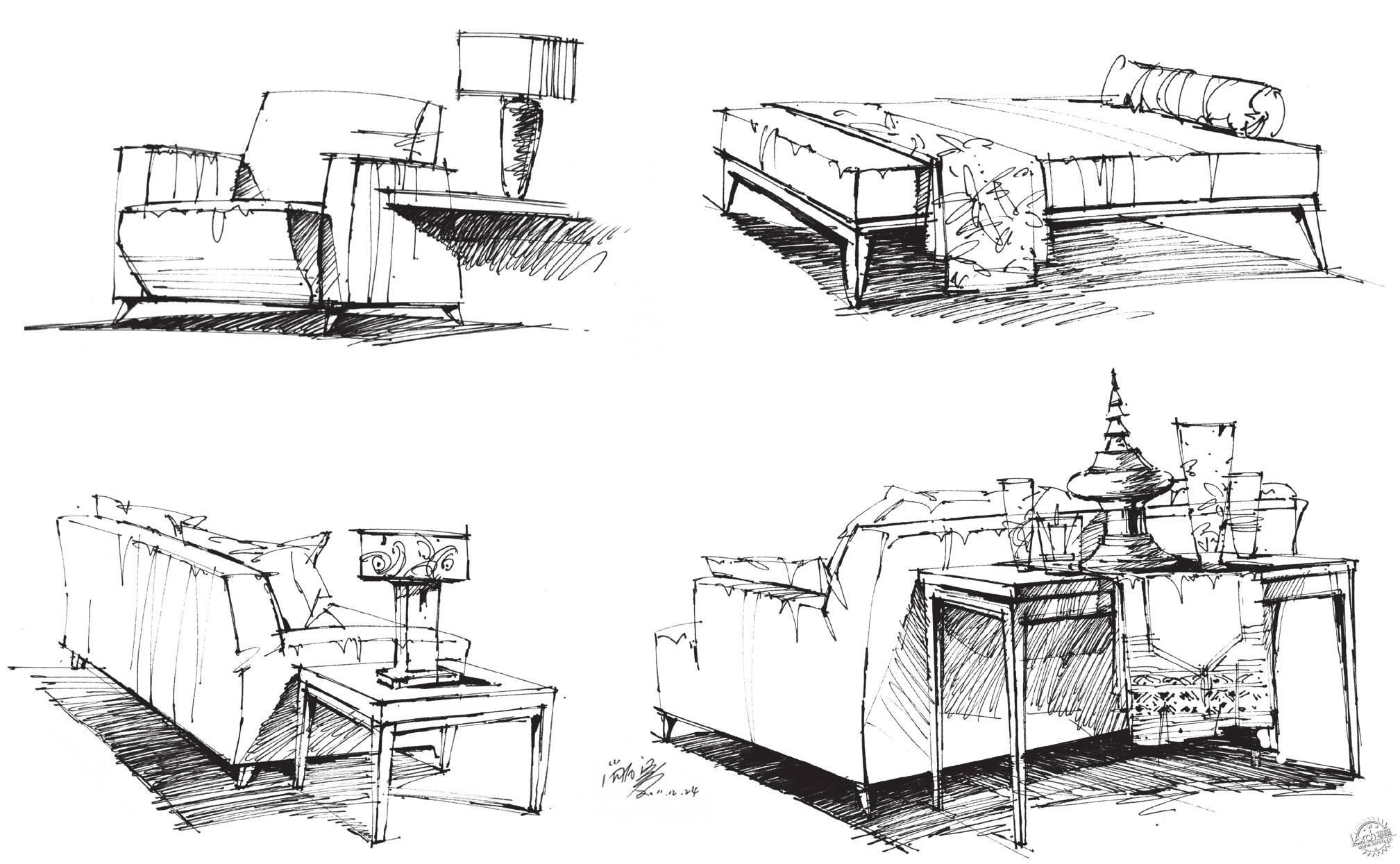 步骤四:加强光影关系,注意沙发坐垫暗面和投影面的区分,物体投影的