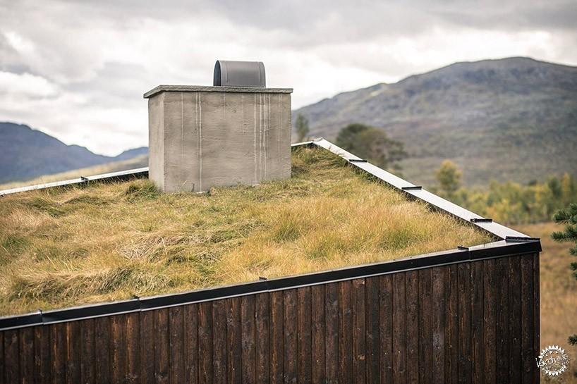 挪威山地景区中的绿化屋顶小屋