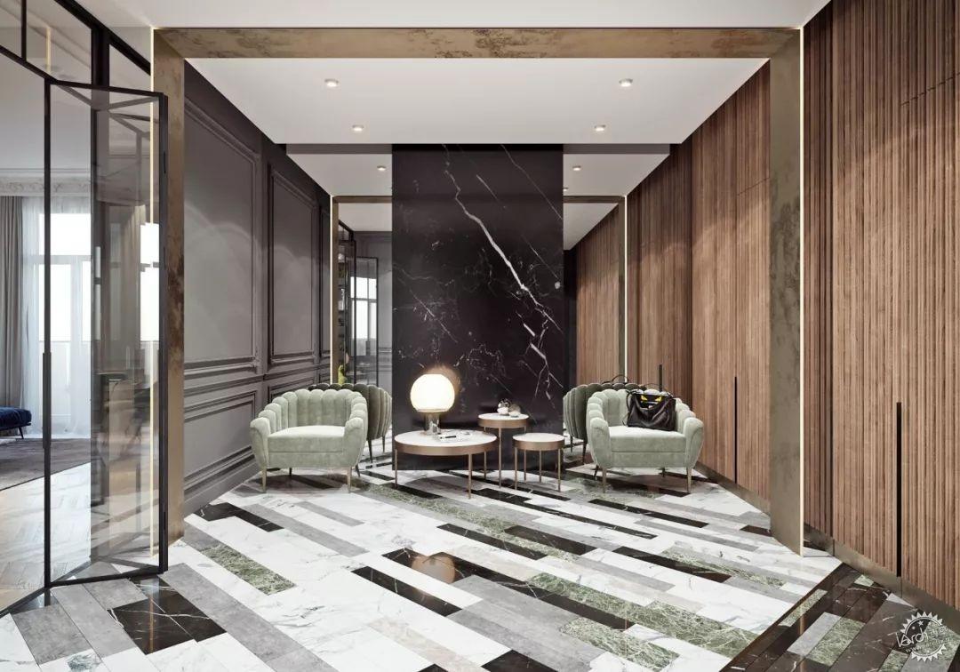 门廊充满木条,大理石的质感,复古的细绒沙发椅 ▼