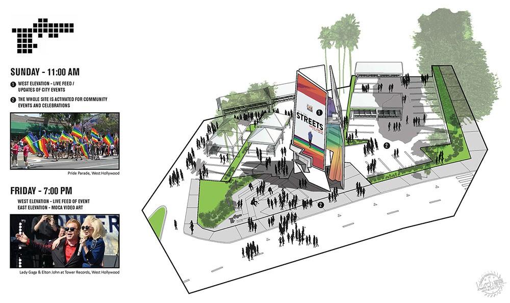 楼赢得日落大道广告牌设计大赛 Tom Wiscombe Architecture